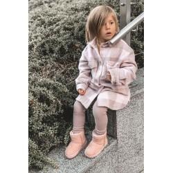 Suknelė su dekoratyviniu įrišimu priekyje rožinė pudra